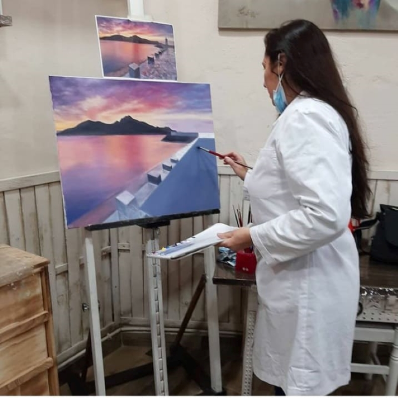 Óleos sobre lienzos de faros por Manoli Picón